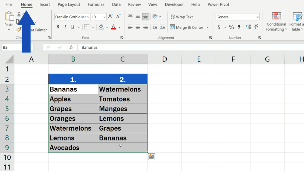 How to Compare Two Columns in Excel to Find Differences - home tab