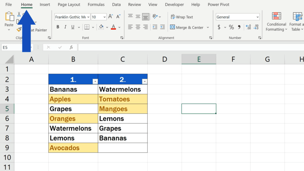 How to Compare Two Columns in Excel to Find Differences - home tab section