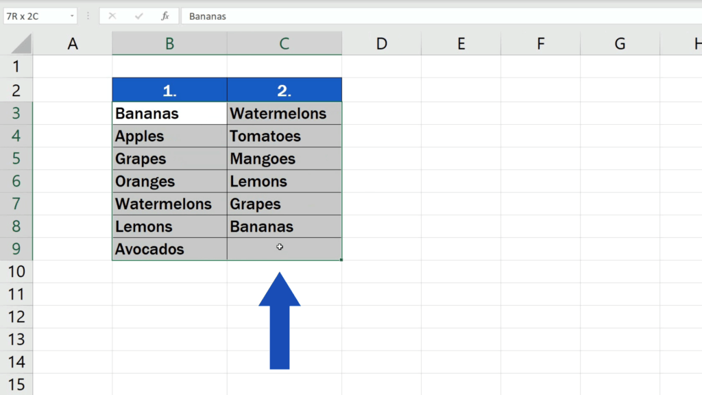 How to Compare Two Columns in Excel to Find Differences - select both columns