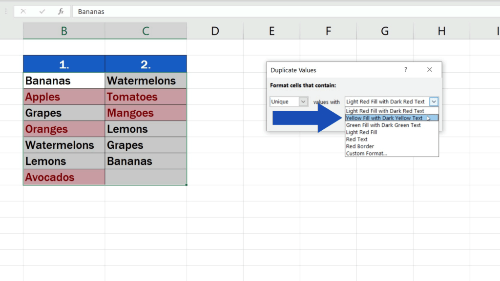 How to Compare Two Columns in Excel to Find Differences - the values highlighted in yellow