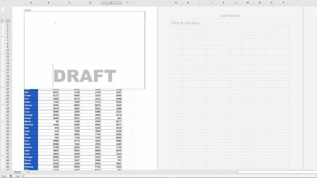 How to Insert aWatermark in Excel - find the right place for the watermark