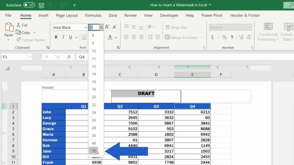 How to Insert aWatermark in Excel - font size 72