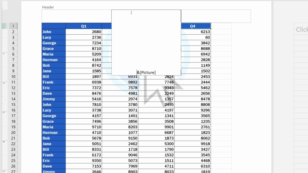 How to Insert aWatermark in Excel -  move the picture down alittle bit
