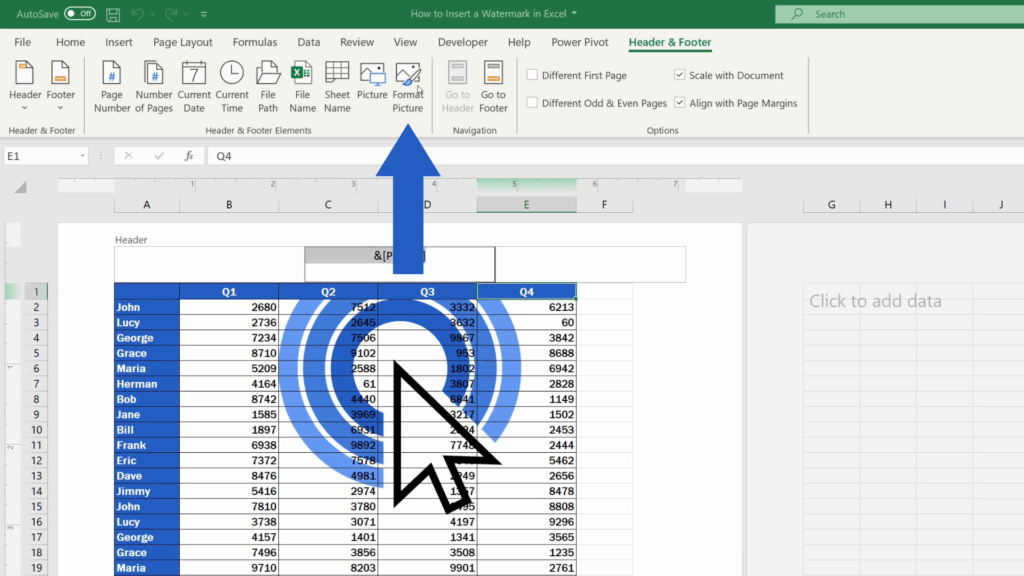 How to Insert aWatermark in Excel - option format picture