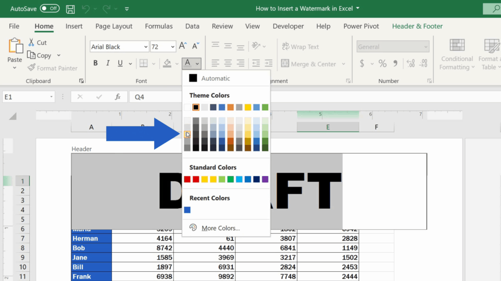 How to Insert aWatermark in Excel - select the colour of the text