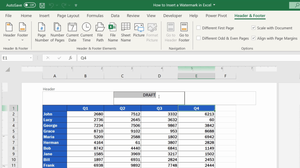 How to Insert aWatermark in Excel - select the text