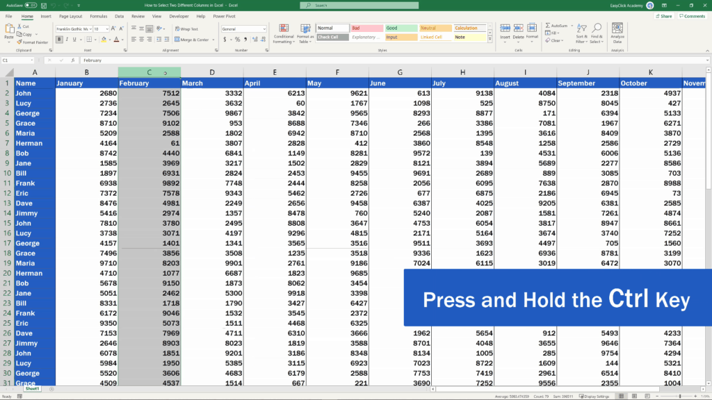 How to Select Two Different Columns in Excel at the Same Time - Select the first column by clicking on it, then press and hold the Ctrl key