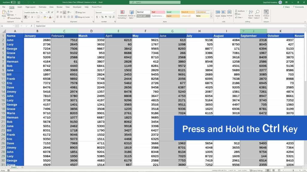 How to Select Two Different Columns in Excel at the Same Time - click on any other column you need to select