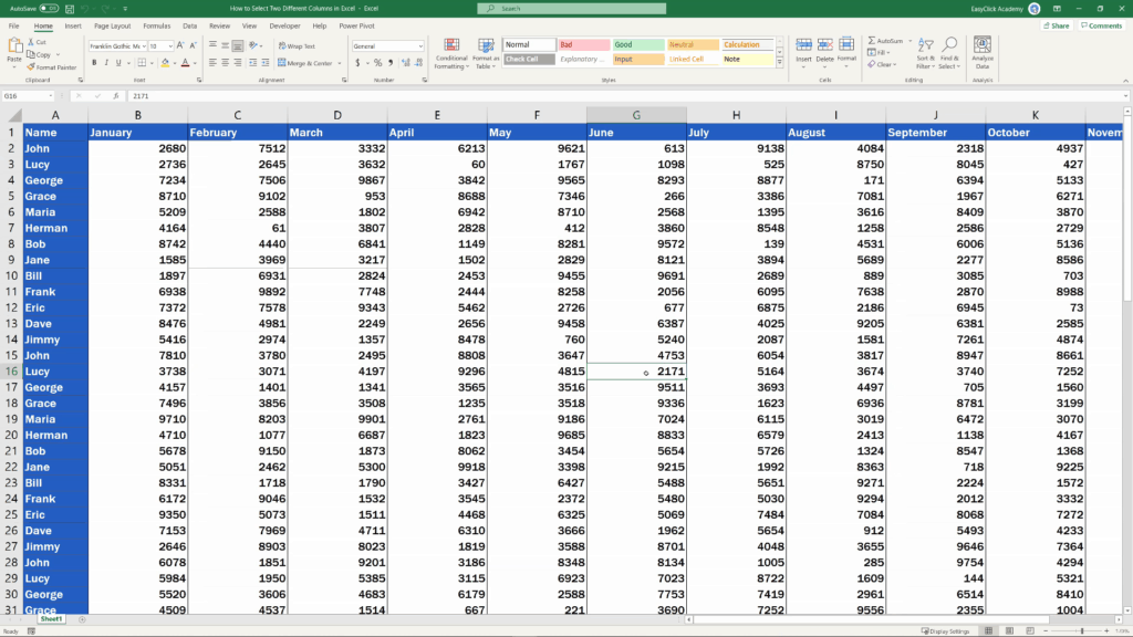 How to Select Two Different Columns in Excel at the Same Time - highlighted columns unselected