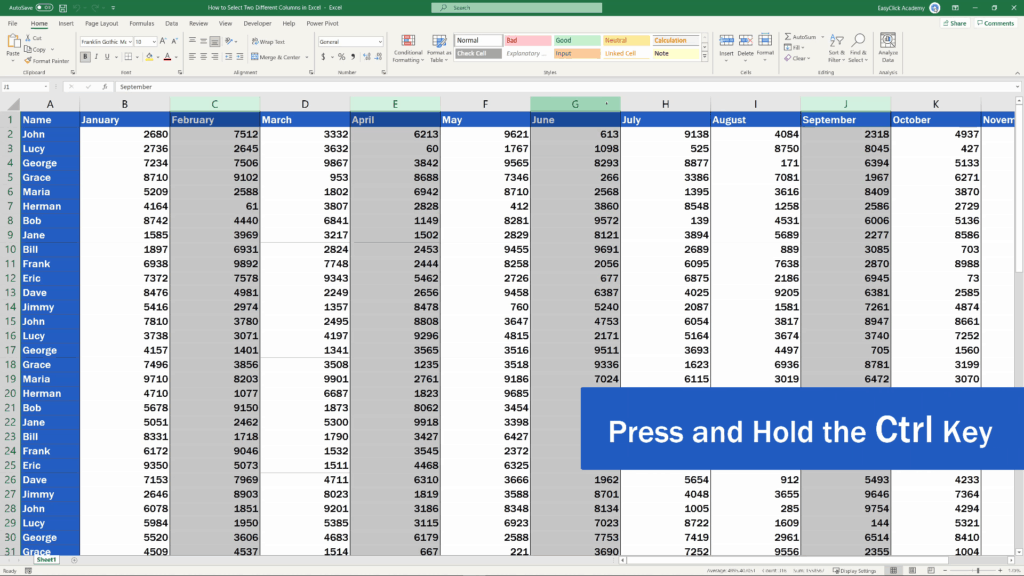 How to Select Two Different Columns in Excel at the Same Time - unselect any of the highlighted columns