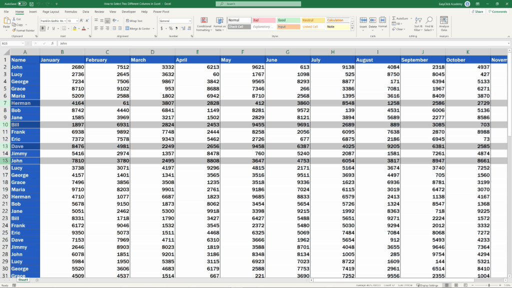 How to Select Two Different Columns in Excel at the Same Time - use the Ctrl key with different rows