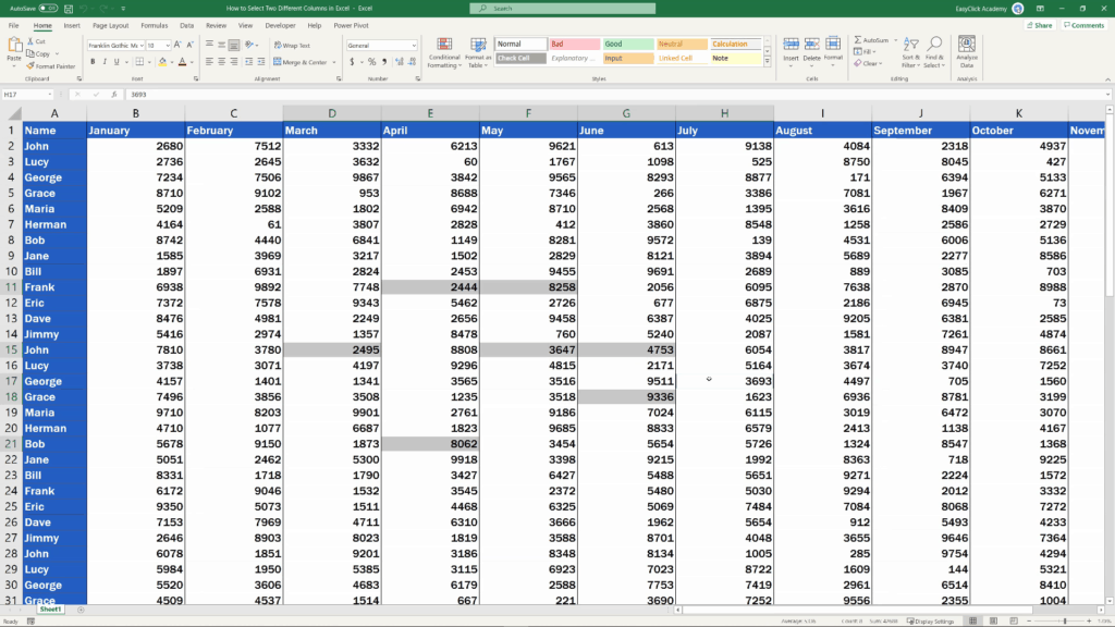 How to Select Two Different Columns in Excel at the Same Time - use the Ctrl key with  separate cells