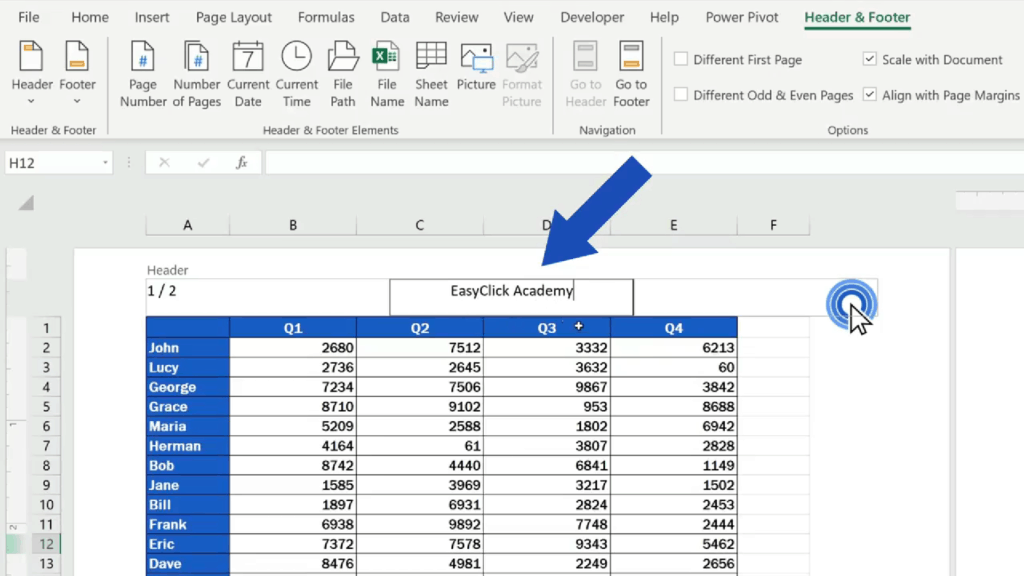 How to Add aHeader in Excel - Click on the header part and insert the text