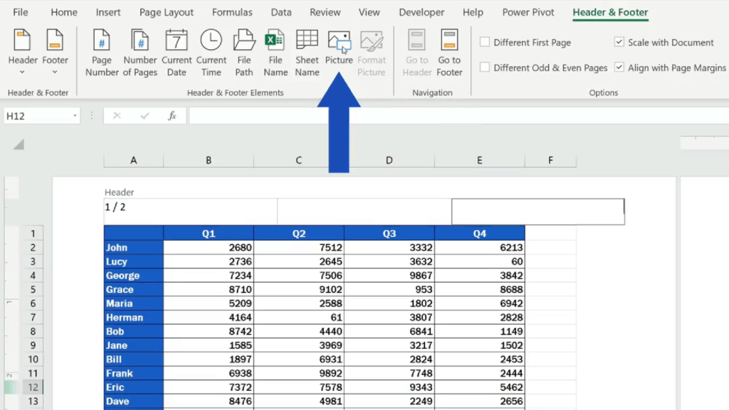 How to Add aHeader in Excel -Excel - go to 'Header & Footer' and there we click on 'Picture'