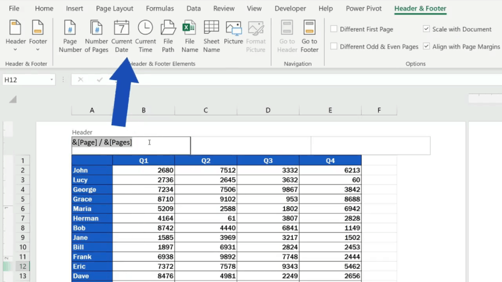 How to Add aHeader in Excel -Excel - insert 'Current Date', 'File Path', 'File Name' or the 'Sheet Name'