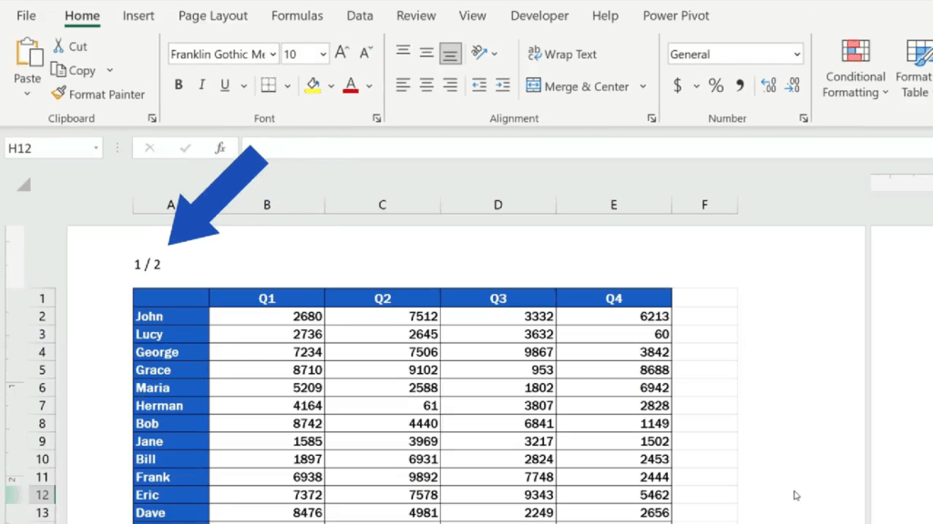 How to Add aHeader in Excel -Excel - number of pages separated with aslash