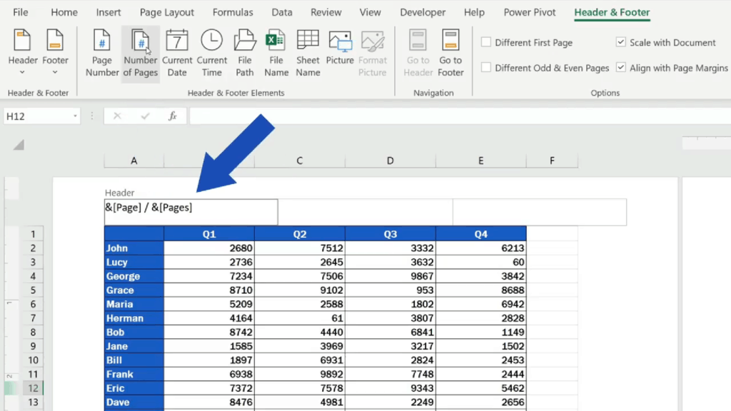 How to Add aHeader in Excel -Excel - see acode