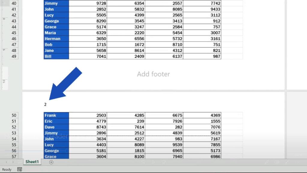 How to Add aHeader in Excel -Excel - the header shows the number of the page
