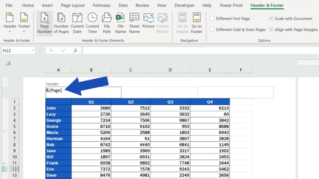 How to Add aHeader in Excel -Excel uses this code for page numbers