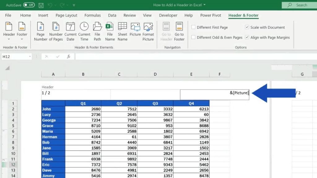 How to Add aHeader in Excel - picture code