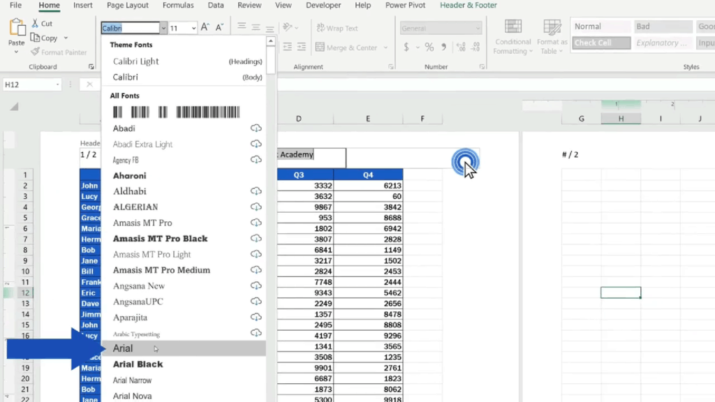 How to Add aHeader in Excel - change the font to Arial