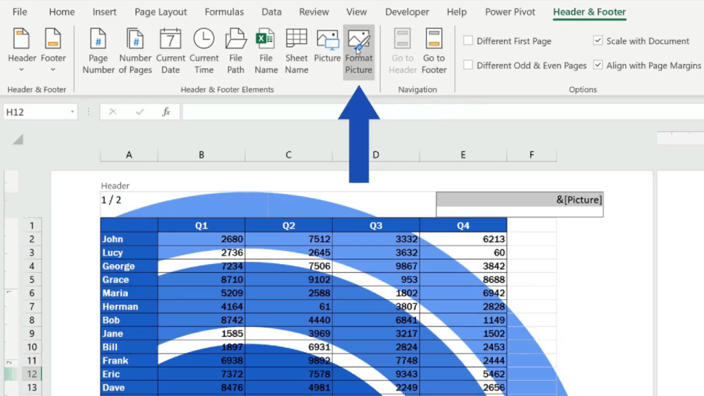 How to Add aHeader in Excel - go to the tab 'Header & Footer' and choose the option 'Format Picture'