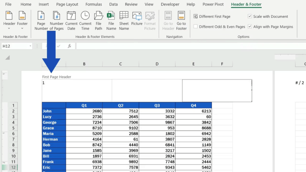How to Add aHeader in Excel - modify the header on the first page