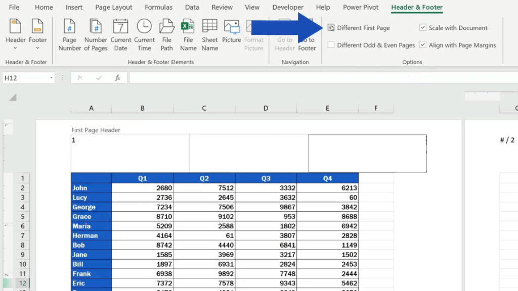 How to Add aHeader in Excel - select 'Different First Page'