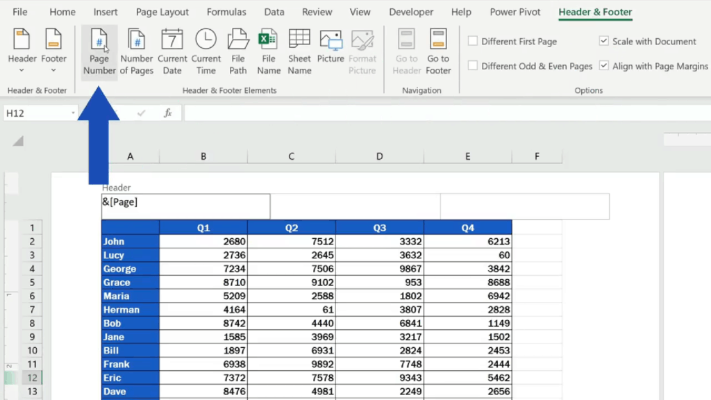 How to Add aHeader in Excel - select Page Number