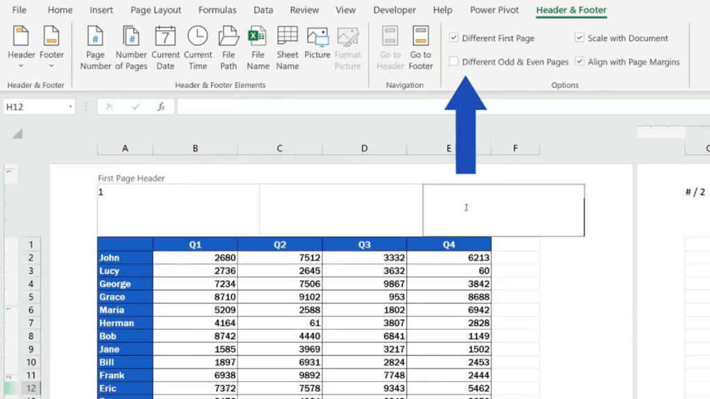 How to Add aHeader in Excel - set 'Different Odd & Even Pages'