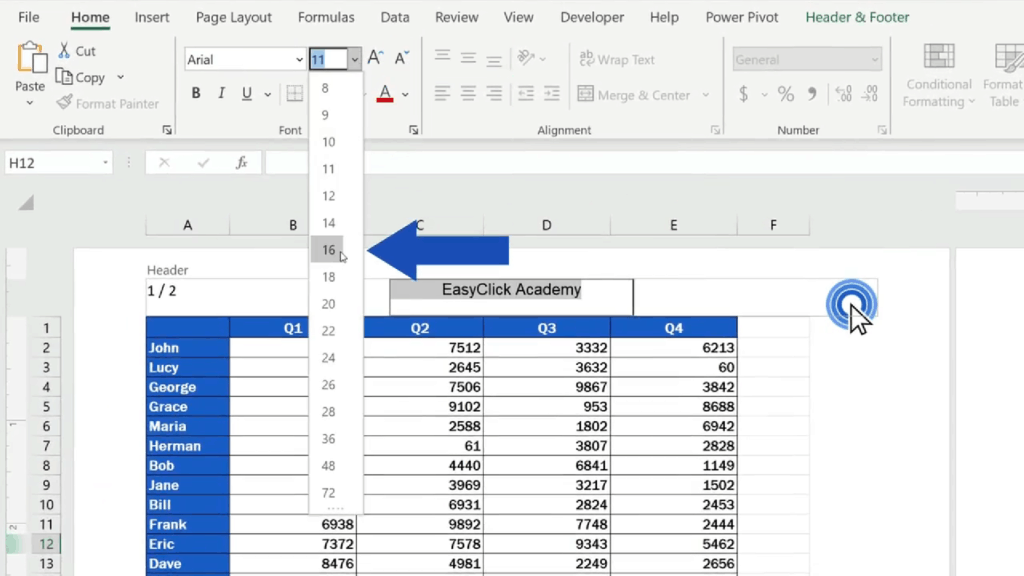 How to Add aHeader in Excel - set the size to 16