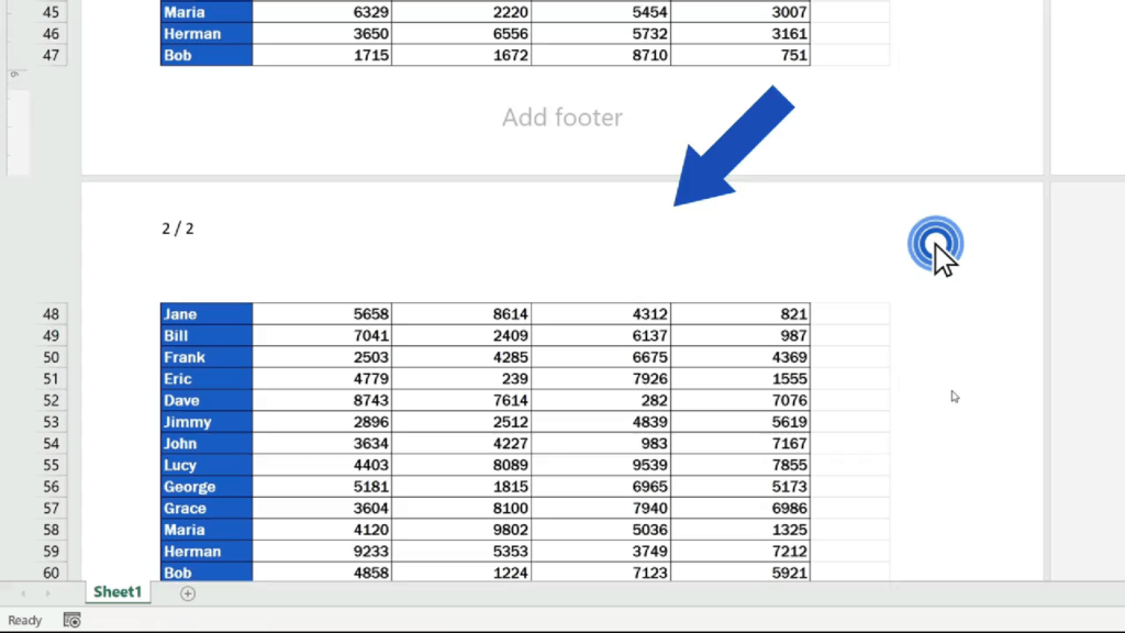 How to Add aHeader in Excel - text removed