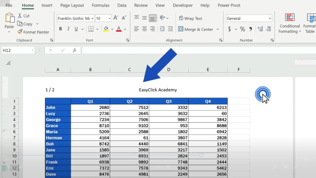 How to Add aHeader in Excel - the text will show in the header of the document
