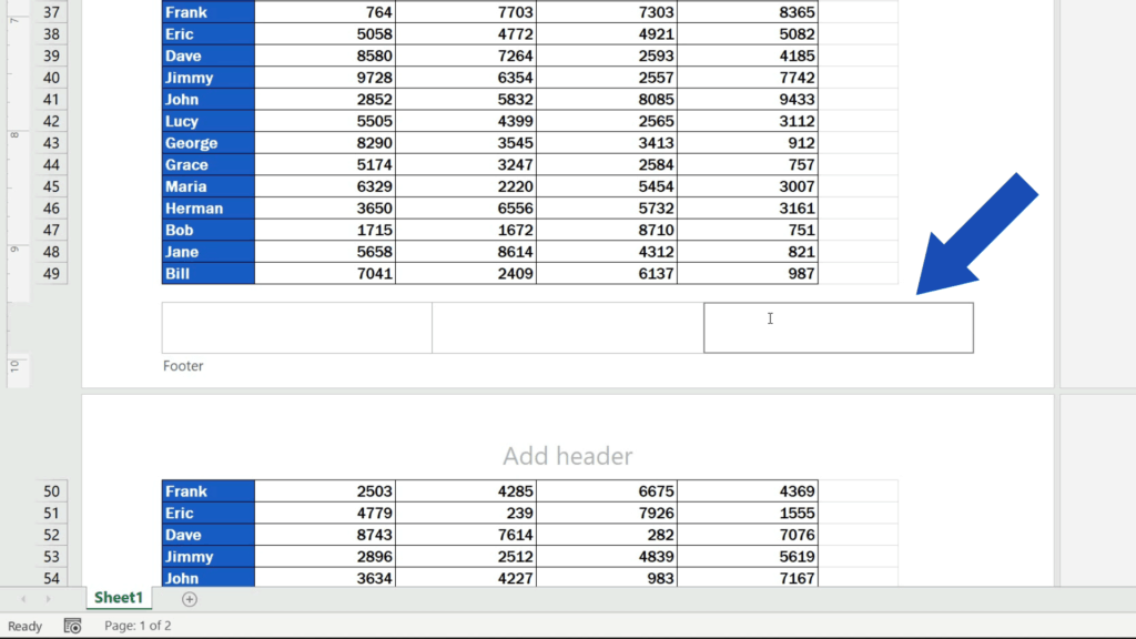 How to Add aFooter in Excel - Click into the selected footer section