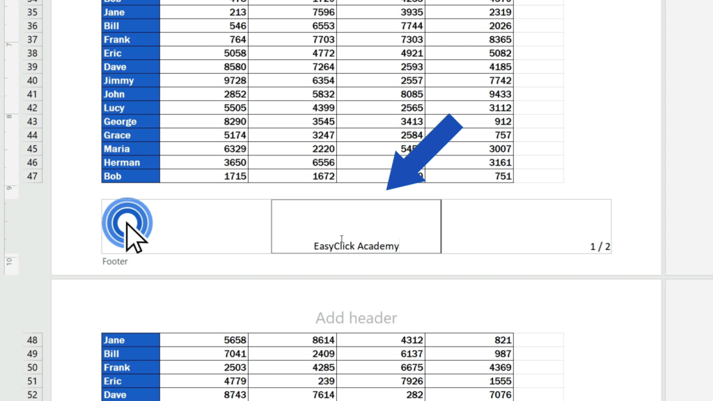 How to Add aFooter in Excel - Click on the footer part where you need to insert the text