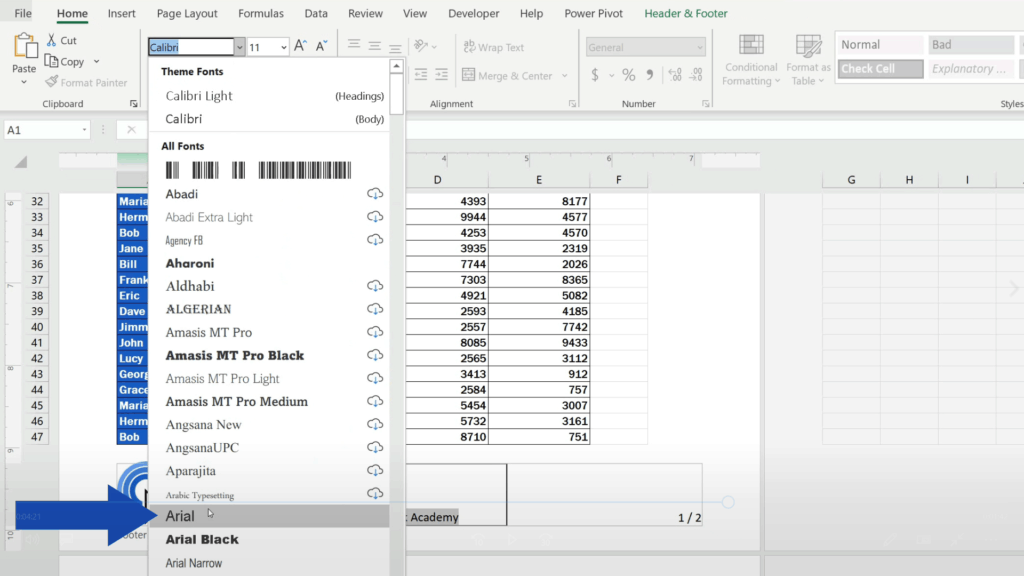 How to Add aFooter in Excel - change the font to Arial