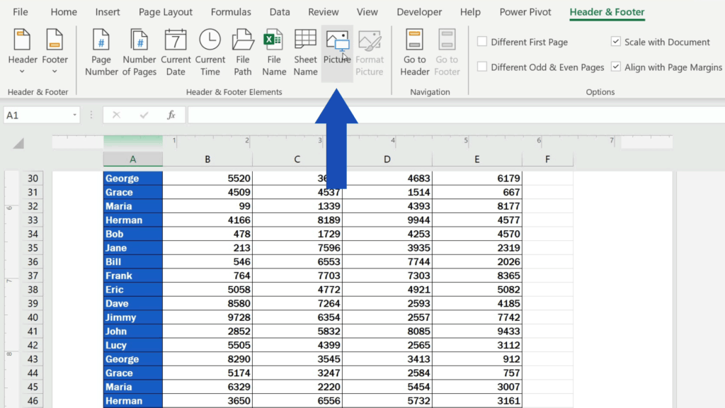 How to Add aFooter in Excel - click on 'Picture'