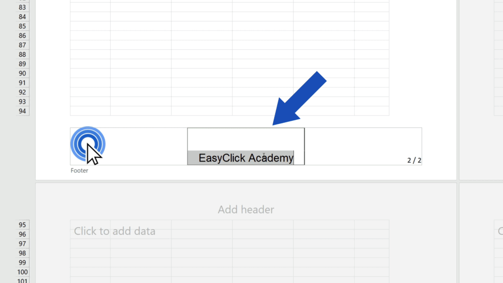 How to Add aFooter in Excel - click on it and delete