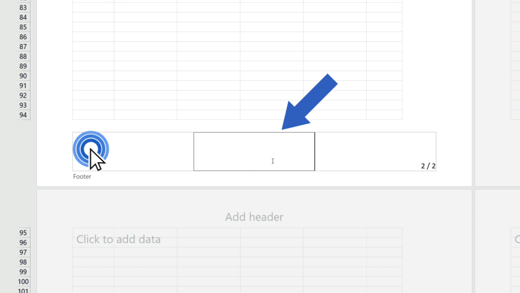 How to Add aFooter in Excel - element removed form the footer