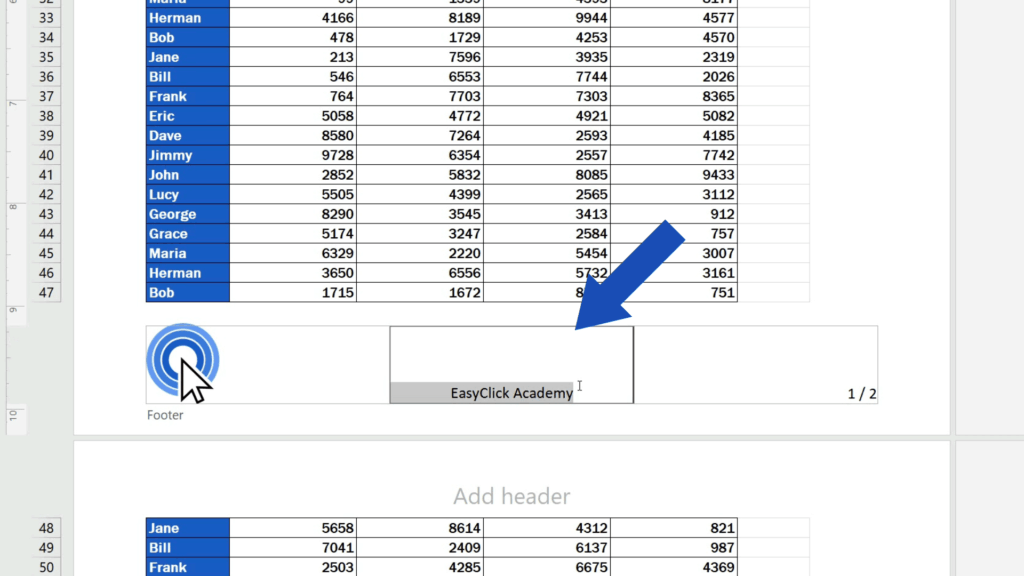 How to Add aFooter in Excel - highlight the text