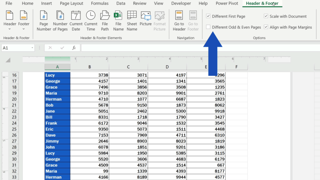 How to Add aFooter in Excel - set 'Different Odd & Even Pages'