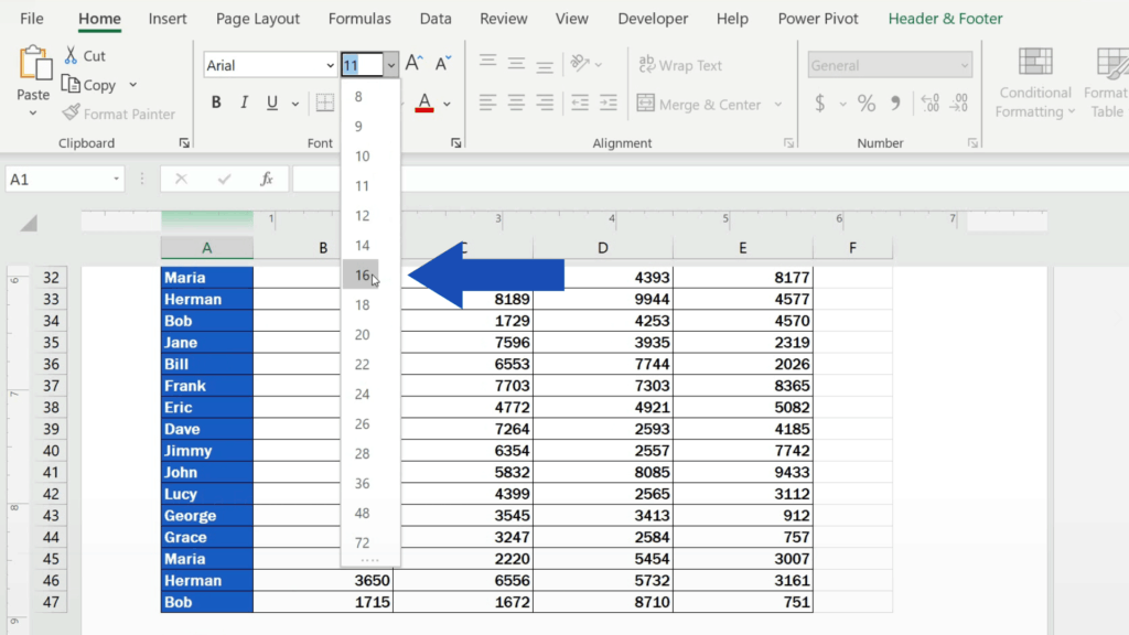 How to Add aFooter in Excel - set the size to 16