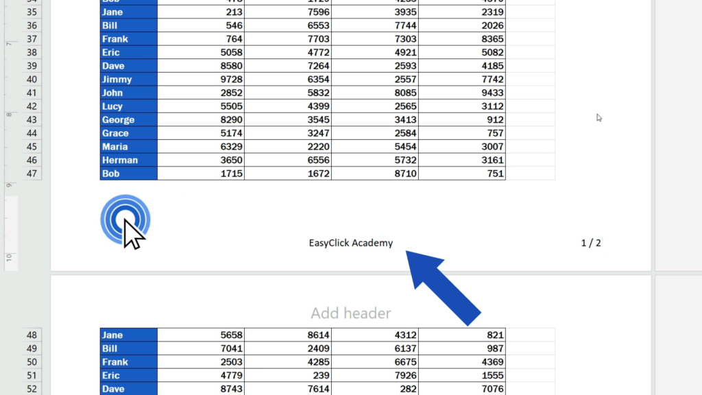 How to Add aFooter in Excel - text will show in the footer of the document