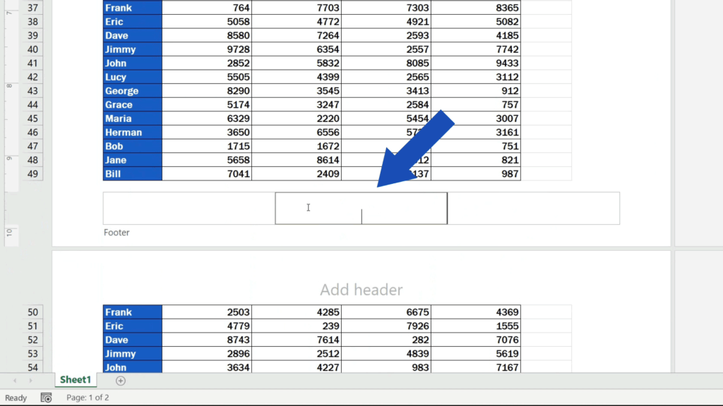 How to Add aFooter in Excel - three Footer sections