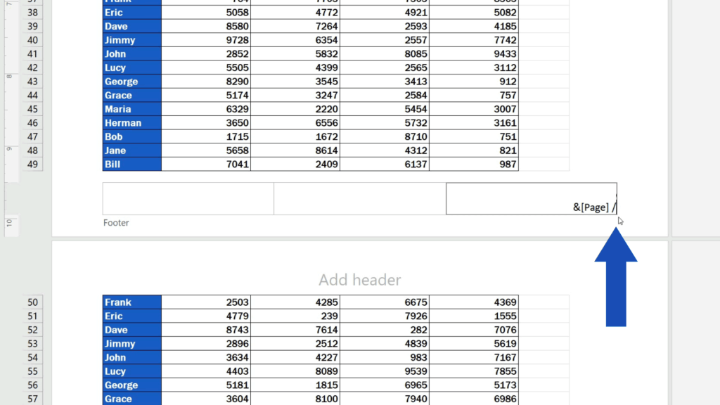 How to Add aFooter in Excel - type in aforward slash