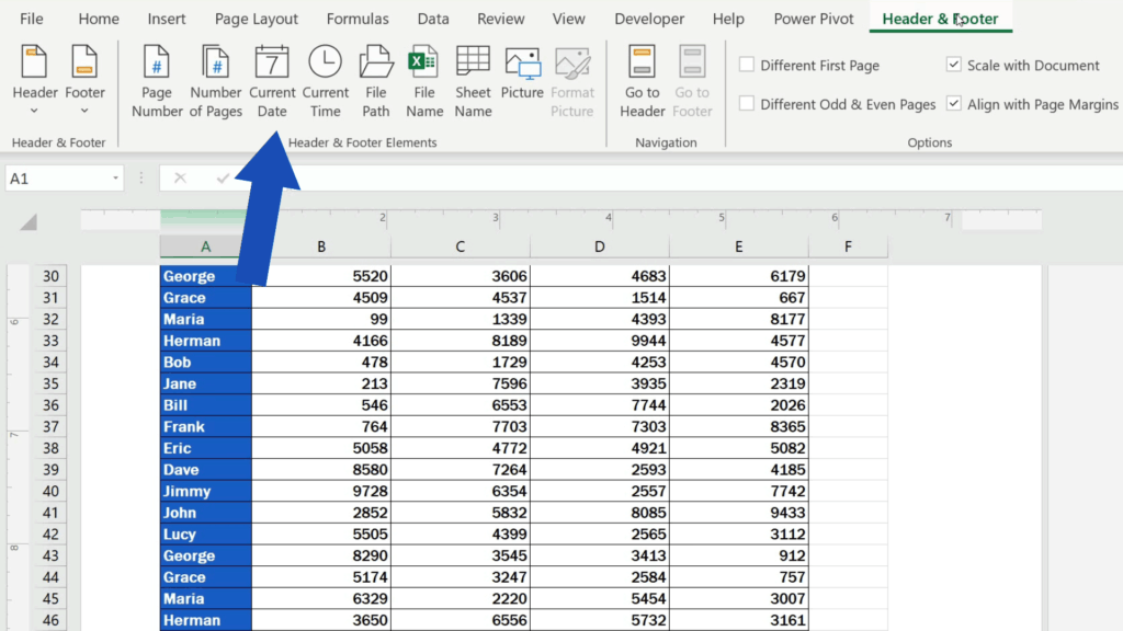 How to Add aFooter in Excel - wecan use insertnCurrent Date', 'File Path', 'File Name' or the 'Sheet Name'.