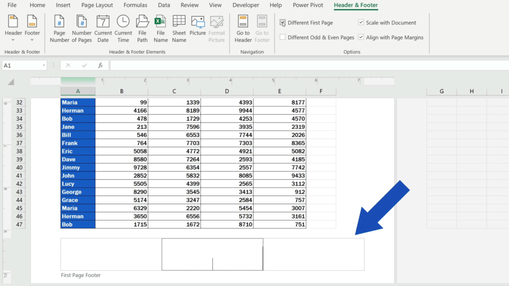 How to Add aFooter in Excel - you can modify the footer on the first page