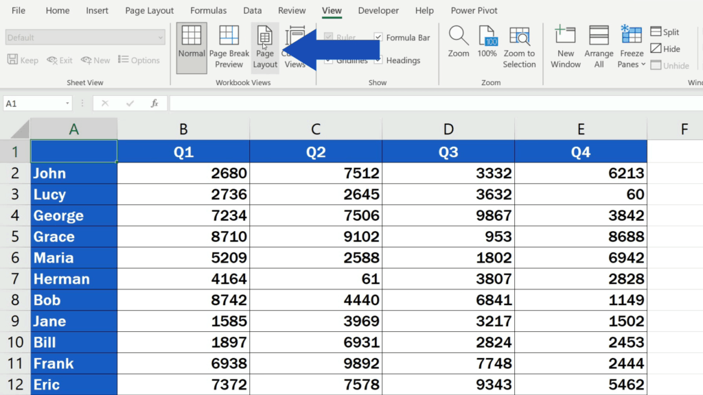 How to Insert Page Numbers in Excel - Change the View Mode of the Document to See Header and Footer