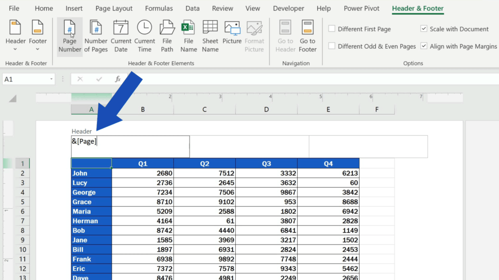 How to Insert Page Numbers in Excel - Excel uses acode