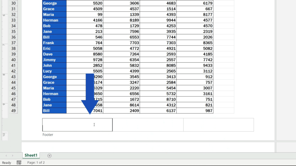 How to Insert Page Numbers in Excel - Footer